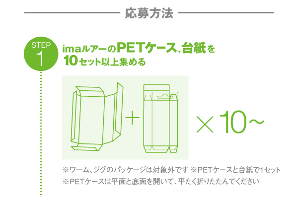 step1:imaルアーのPETケース、台紙を10セット以上集める